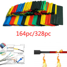164/328pcs Multicolor Polyolefin Shrinking Assorted Heat Shrink Tube Wire Cable Insulated Sleeving Heat Shrink Tubing Set 2:1