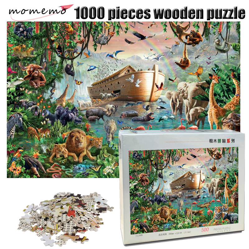 Us 2196 40 Offmomemo Noahs Ark And Animals Jigsaw Puzzle 1000 Pieces Wooden Puzzle Adult Decompression Puzzle Game Toys For Children Gifts In