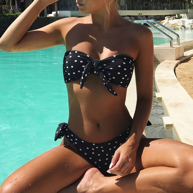 2019 New Polka Dot Sexy Bikini Women Bandeau Push Up swimwear Summer Beachwear Swimsuit Female Print Bikini Set Bathing Suit