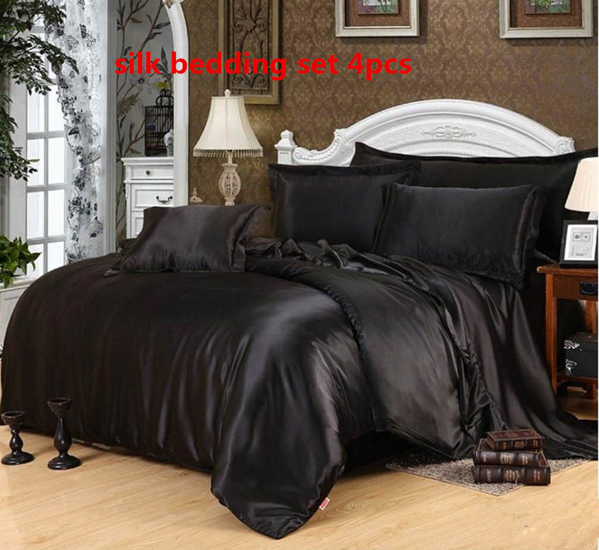 Silk Bedding Sets 4pcs Luxurious Duvet Cover Flat Sheet