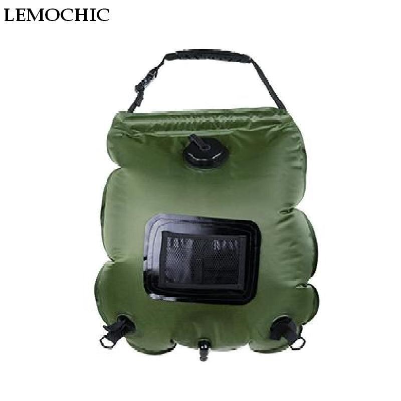 LEMOCHIC haute 20L camping en plein air randonnée été auto-conduite tour chauffage solaire avec thermomètre pliant sac de douche eau chaude