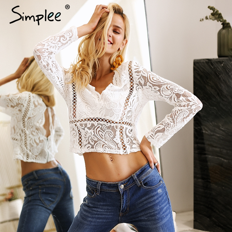 Simplee Long sleeve white lace top women Sexy hollow out crop top female Backless summer 2018 ladies tops v neck blouse shirt
