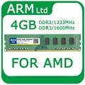 Atacado ddr3 pc3-10600 ddr3 1333 mhz 1600 mhz 4 gb ram para o suporte de memória dual channel amd transporte rápido