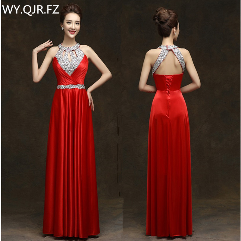 QLY150#Diamante Blue Red Long Halter Lace Up Bridesmaid Dresses Bridal Gown Wedding Party Prom Dress Girl 2019 Wholesale Custom