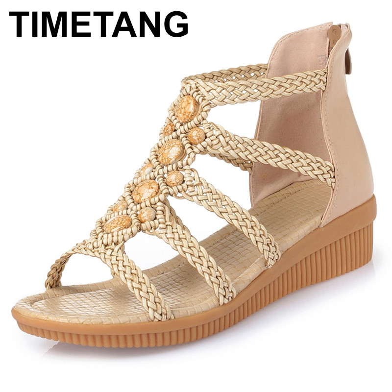 TIMETANG Fashion Women's Beach Sandals summer women genuine leather sandals Bohemia Beaded sandals Women Shoes Plus size 35-43 timetang flat sandals t strap fashion trend sandals bohemia national flat heel beaded female shoes sale women shoes
