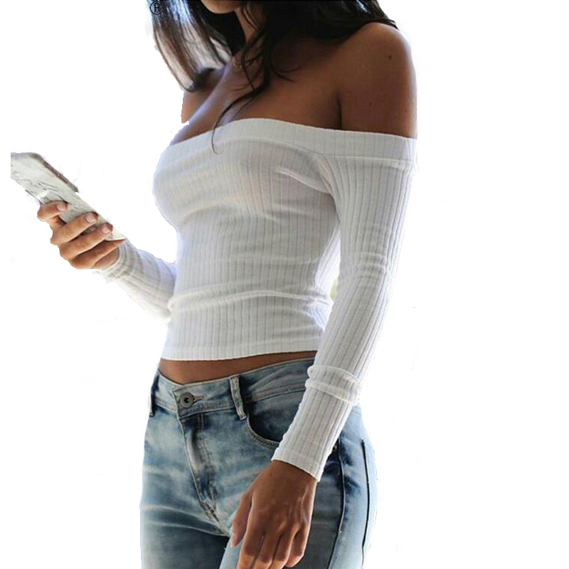 Autumn Kawaii T-shirt Crop Women Tops Sweet Black Off Shoulder T shirt White Top Short Cropped Fall 5 Colors Top Femme Plus Size
