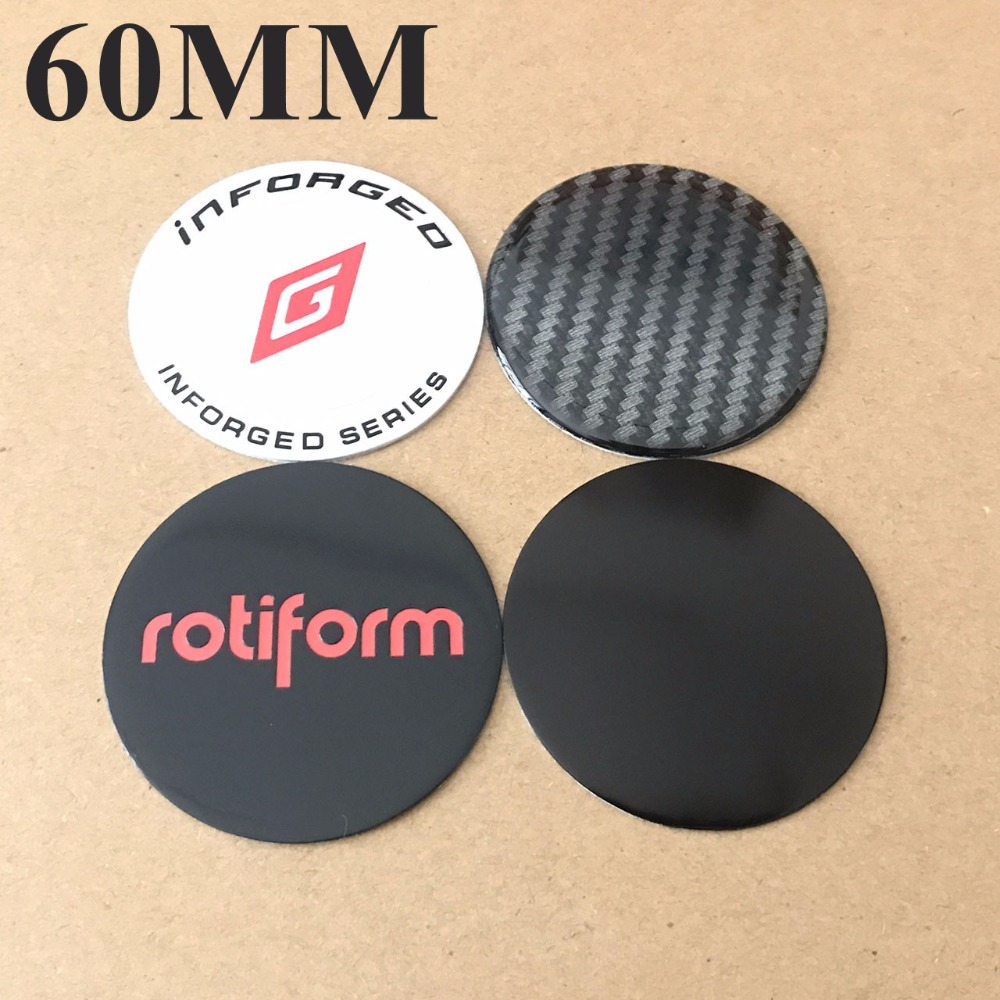 60MM Center Stickers Blank No Logo Badge Rotiform Emblems Wheel Covers Hubcap Sticker For Inforged Rims Cap 4PCS/LOT