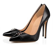 sexy black leather pointed toe high heel shoes 2019 fashion rivets studded stiletto heels women thin heels shoes size 34-46 недорого