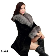 2017 new fur coat fashion Artificial imitation water mink long section faux fox big collar Coat