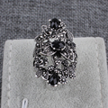 2016 Mais Novo Coreano Moda Retro Jóia de Cristal Anéis Para As Mulheres de Prata Banhado A Grande Forma de Flor Elegante Do Vintage