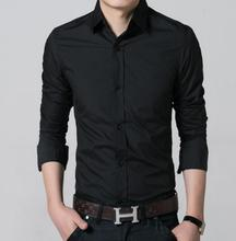 Men's shirts leisure office single-breasted lapel shirt pure color long sleeve shirt party high quality custom men's shirts