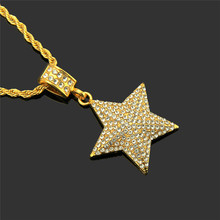 1PC Personality hip hop three-dimensional  five-pointed star pendant necklace Cool costume pendant stylish five pointed star pendant black double chokers necklace