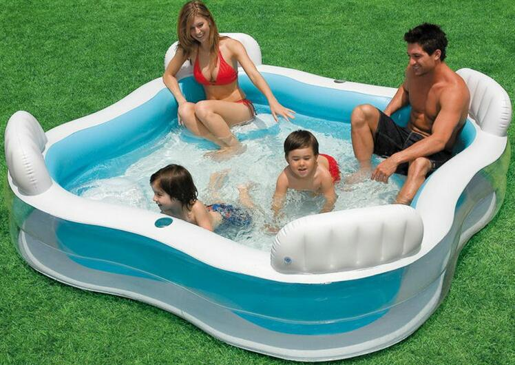 Backrest INTEX56475 inflatable pool inflatable pool family pool square summer baby pool size 229 * 229 * 66CM