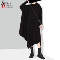 New 2016 European Woman Autumn Solid Black Grey Dress Very Long Sleeve Scarf Collar Loose Short