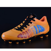 2016 new Boy Kids Men Soccer Cleats Boots Turf Football Shoes FG Outdoor Sneakers Sport Shoes chaussure de foot haute cheville