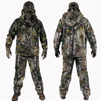 Men's Bionic Camouflage Hunting Clothing Winter Hunting Suits with Fleece Hunting Ghillie Suit 4pcs/set Jacket+Pants+Gloves+hat