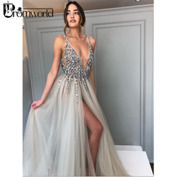 Promworld Backless Grey Evening Dresses 2019 Sexy Prom Dresses with Slit Rhinestone Tulle See Through Long Evening Gowns
