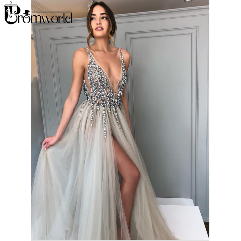 Promworld Backless Grey Evening Dresses 2020 Sexy Prom Dresses With Slit Rhinestone Tulle See Through Long Evening Gowns