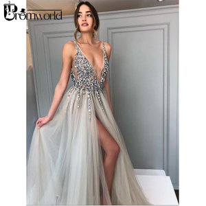 Image 1 - Promworld Backless Grey Evening Dresses 2020 Sexy Prom Dresses with Slit Rhinestone Tulle See Through Long Evening Gowns