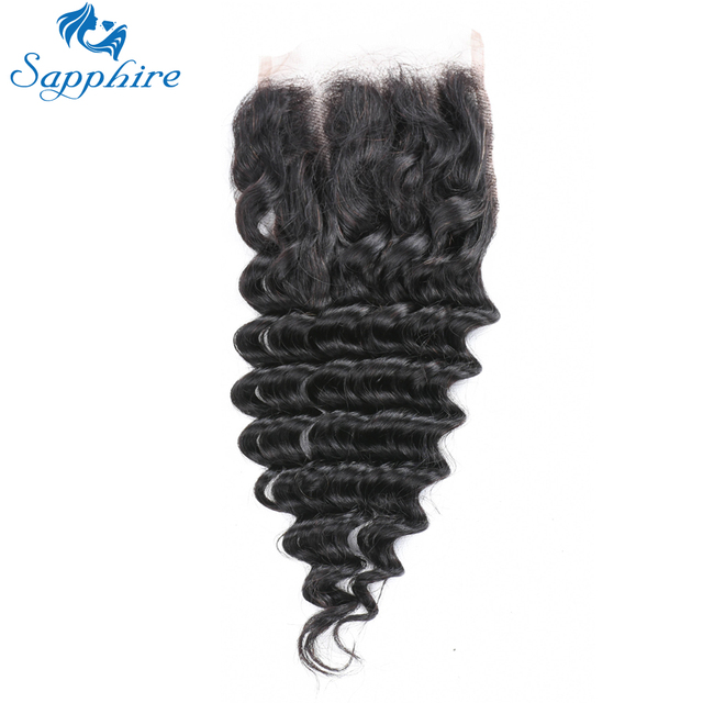 Sapphire Deep Wave Remy Hair 44 Lace Closure With Baby Hair Natural
