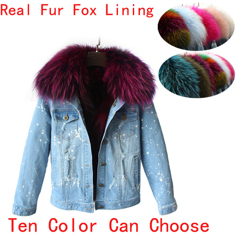 2017 Korean Real Raccoon Fur Collar Women Winter Short Jeans Coat Jacket Denim Thick Outwear Real Fox Fur Lining Parka  Feminina 2017 winter new clothes to overcome the coat of women in the long reed rabbit hair fur fur coat fox raccoon fur collar