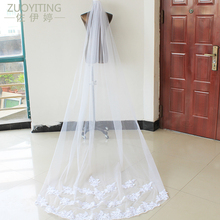 ZUOYITING Wedding Accessories 2017 Appliques Tulle Long Cathedral Wedding Veil Lace Edge Bridal Veil with Comb veu de noiva long