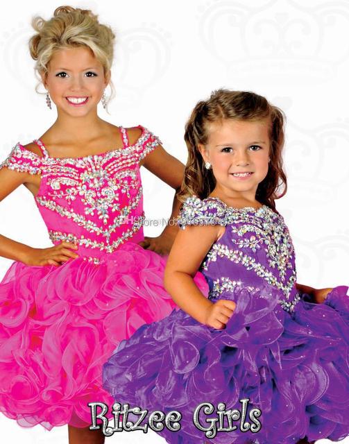Organza Púrpura Turquesa Fucsia Prom Vestidos Cortos Niñas Desfile ...