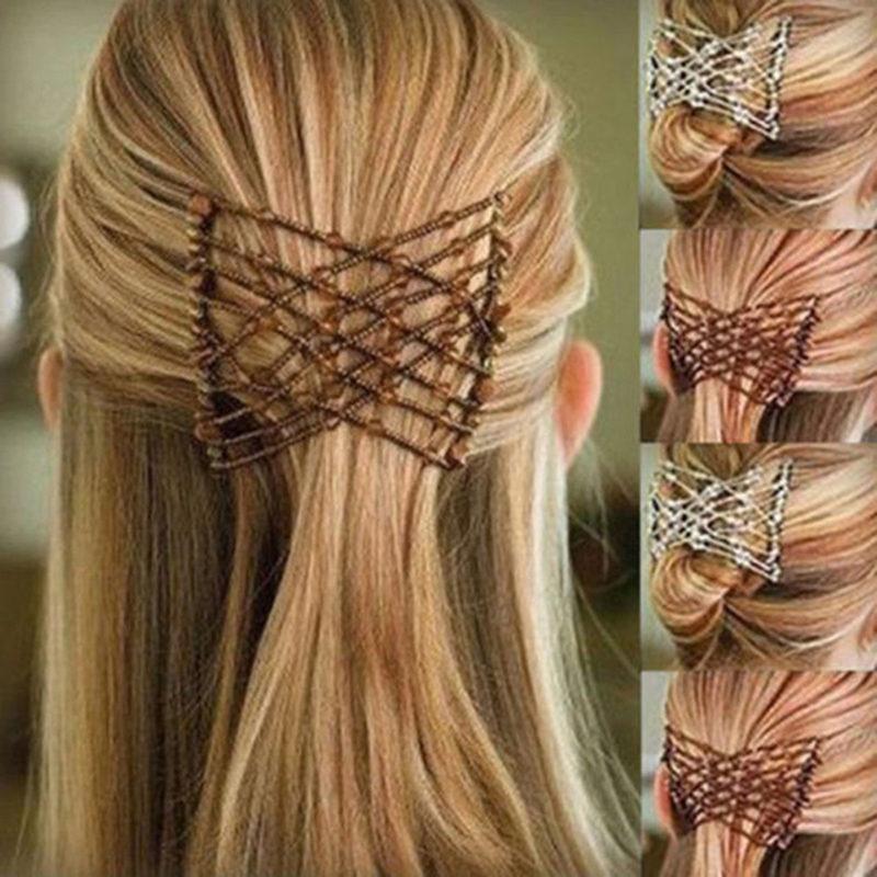 Haimeikang Fashion Hair Elastic Pins Hair Magic Comb Clip for Women Girls Beaded Barrette Hairpin Double Hair Combs   Headwear