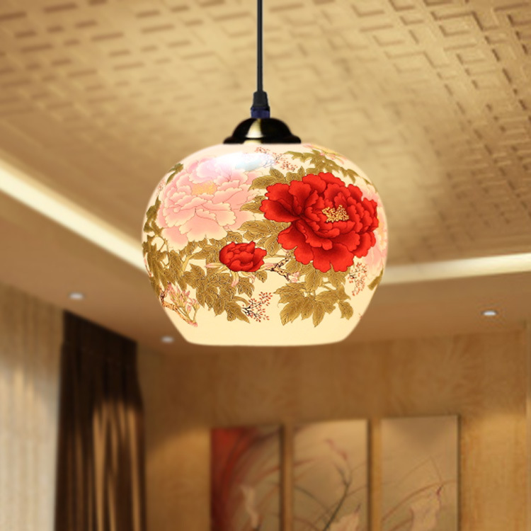 ФОТО Ceramic Garden Chinese Restaurant Hanging Lamp Classical Living Room Lamps and Lantern Pendant Lamp Kinds of Pattern