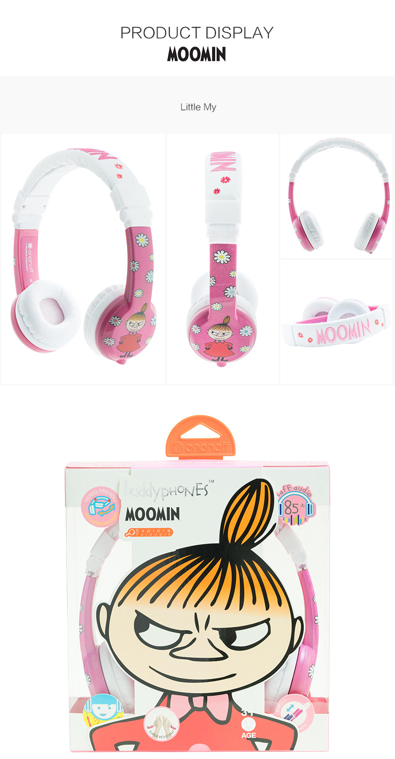 BuddyPhones ONANOFF MOOMIN Headphones Kids Safe Volume Limiting ...