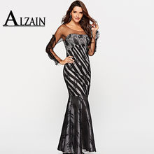64a6d285a55 Alzain Long Sleeve Mermaid Lace Dresses Black Lace Sweep Train Formal Dress  For Women Backless Party Dresses