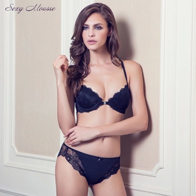 92f7573c82 Sexy Mousse 70-85ABCD cup sexy front-close lace bra comfortable women s  underwear black lace molded bra set luxury lingerie