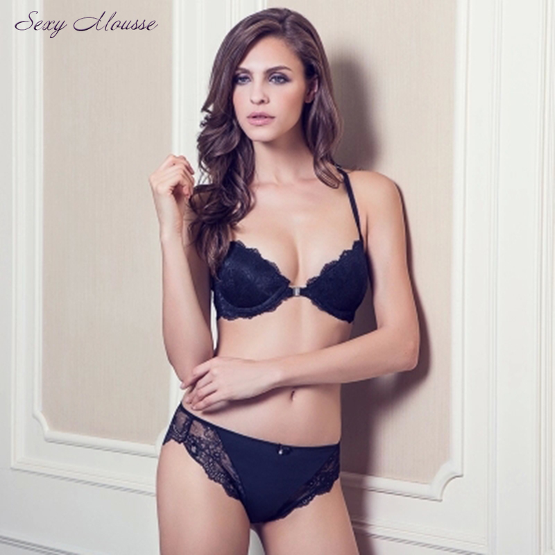 Sexy Mousse 70-85ABCD cup sexy front-close lace bra comfortable womens underwear black lace molded bra set luxury lingerie