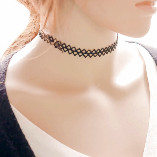 Brand-new Gothic Simple Black Cloth Lace Tattoo Choker Necklace Lady Girl  PO56