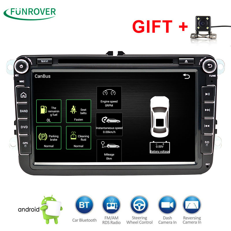 2 DIn Car DVD Player 8' HD For VW POLO GTI GOLF 5 6 MK5 MK6 JETTA PASSAT B6 Touran Sharan With GPS Navigation Radio RDS