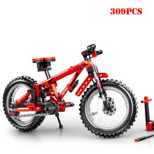 Mechanical Mountain Bike 2 in1 Tandem Bicycle Moc Building Blocks Compatible Legoings City Technic Bricks Toys For Children Gift(China)