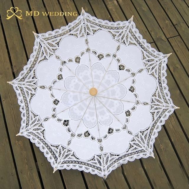 New Lace Umbrella Cotton Embroidery White/Ivory Battenburg Lace Parasol Umbrella Wedding Umbrella Decorations Free Shipping 5