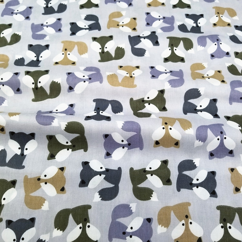 Grey Fox Cotton Patchwork Cloth Kids Twill Cotton Fabric for DIY Sewing Quilting Fat Quarters Material For Baby Child in Fabric from Home Garden
