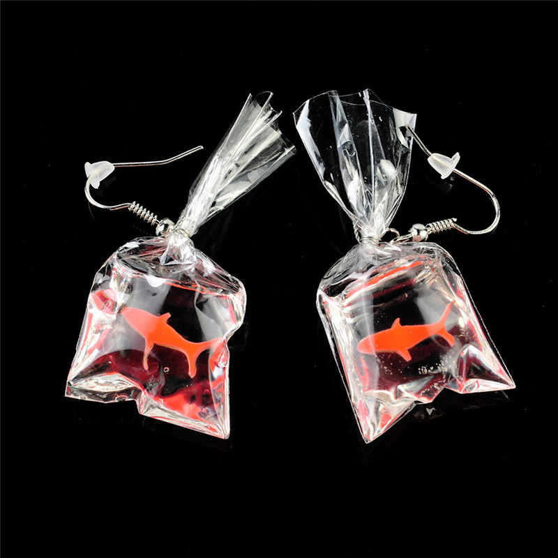 New Fashion Earrings Funny Cartoons Goldfish Water Bags Shape Dangle Earring Charm Resin Earrings Wholesale