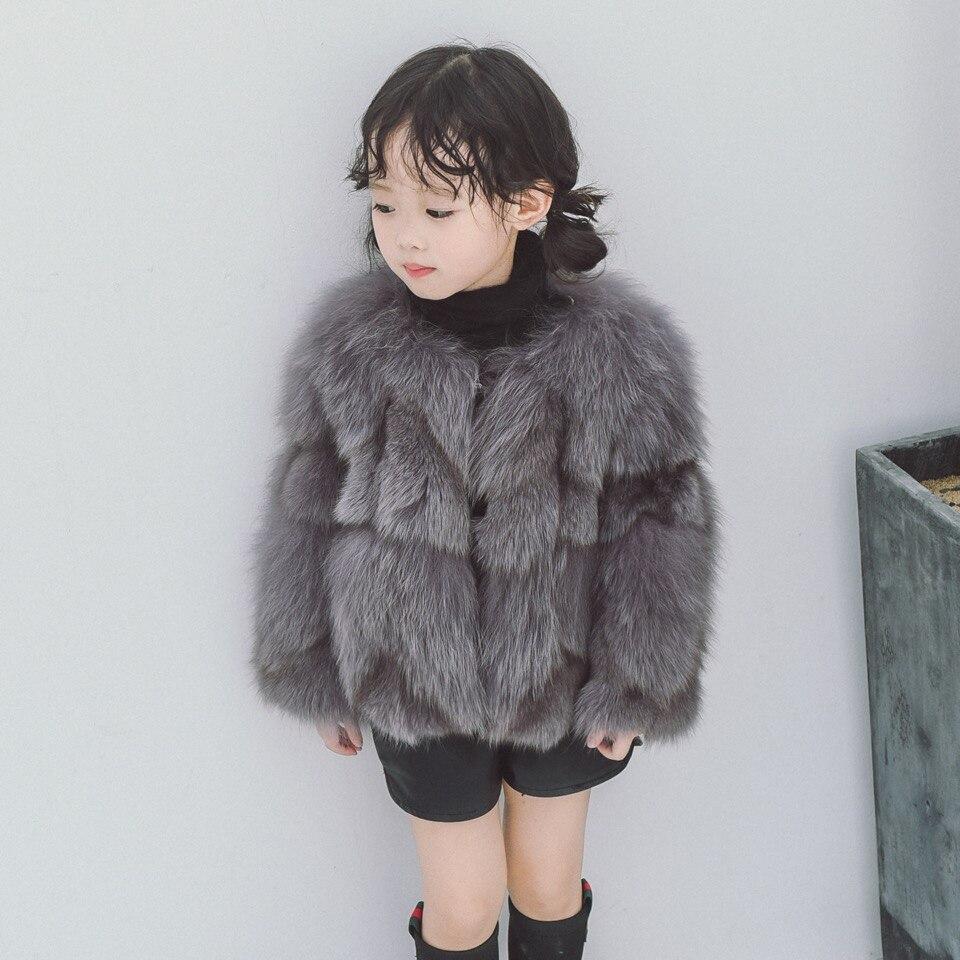 Детская натуральным лисьим Мех животных пальто Новинка 2017 года осень зима Обувь для девочек Обувь для мальчиков натуральный Мех животных п