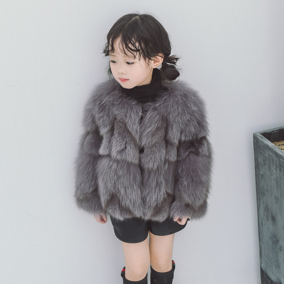 Children Real Fox Fur Coat 2017 New Autumn Winter Girls Boys Natural Fur Coat Clothing Warm Kids Thicken Overcoat Jacket 5 colors 2017 new long fur coat parka winter jacket women corduroy big real raccoon fur collar warm natural fox fur liner