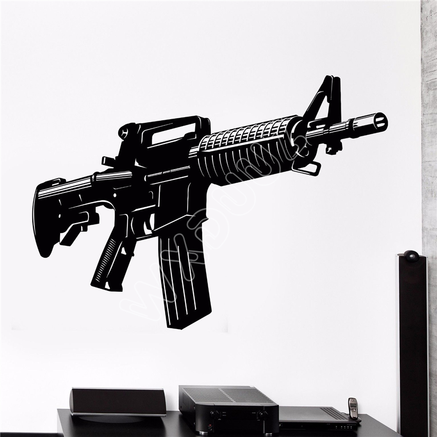 WXDUUZ Vinyl Wall Decal Automatic Pistol Weapons War Soldier Video Game Stickers living kitchen room Vinyl Wall Sticker B593