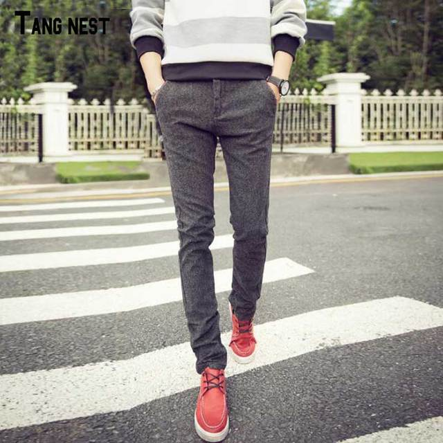 TANGNEST Men Pants 2017 New Arrival Men's Straight Slim Fit Pants Male Spring Style Fashion Cotton and Linen Trousers MKX1077