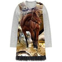 Dziewczynka sukienka z długim rękawem dziewczyny sukienki brązowy koń drukuj dzieci projektant dzieci czarne koronkowe ubrania dziewczyna odzież moda dla dzieci