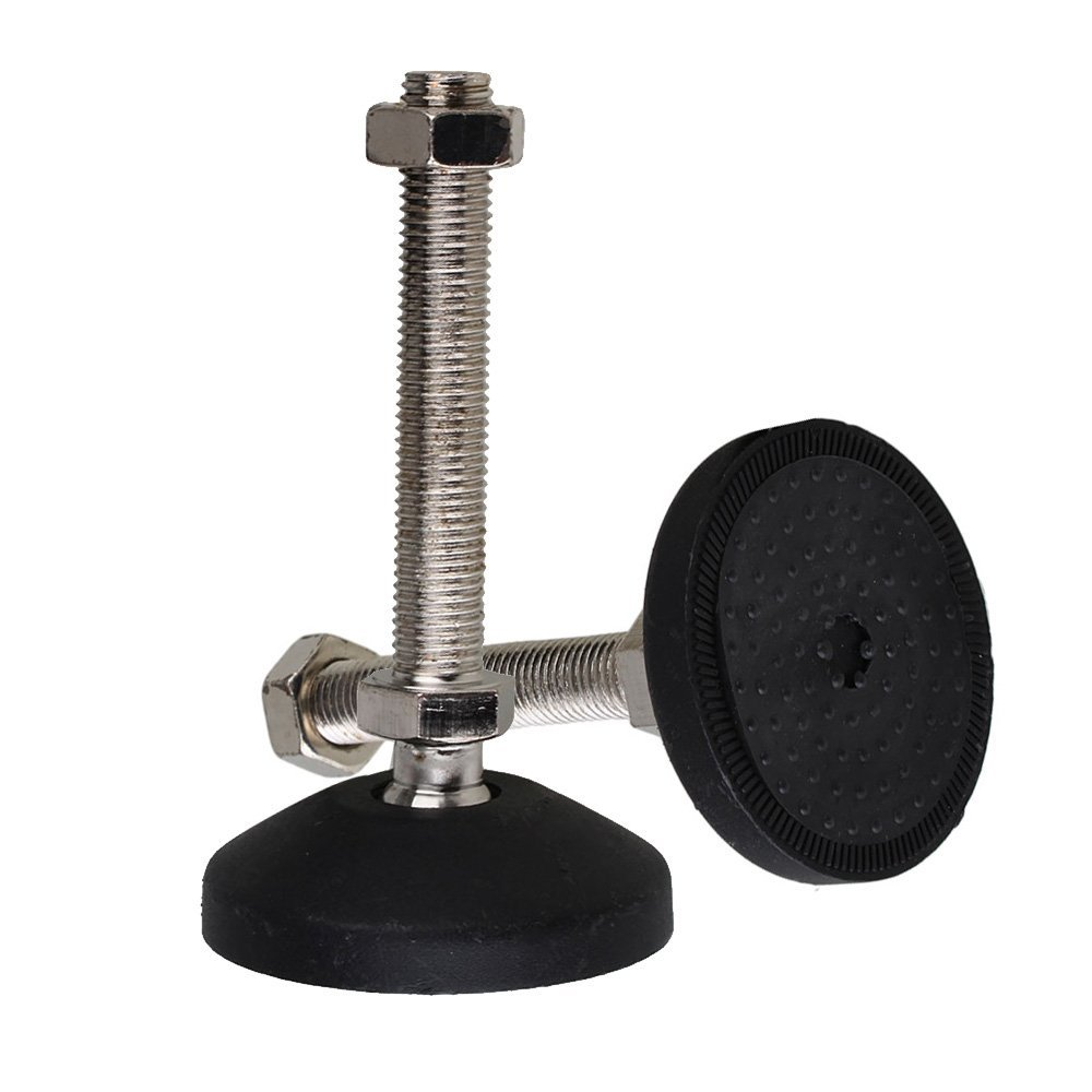 Black 78mm Dia M16 X 100mm Threaded Universal Joint Adjustable Levelling Feet Furniture Glide Pad Pack Of 2