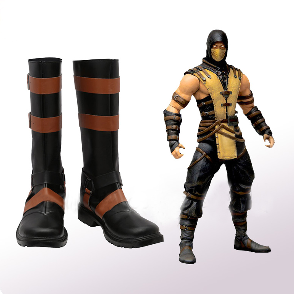 mortal kombat x scorpion cosplay shoes boots superhero halloween carnival party costume accessories