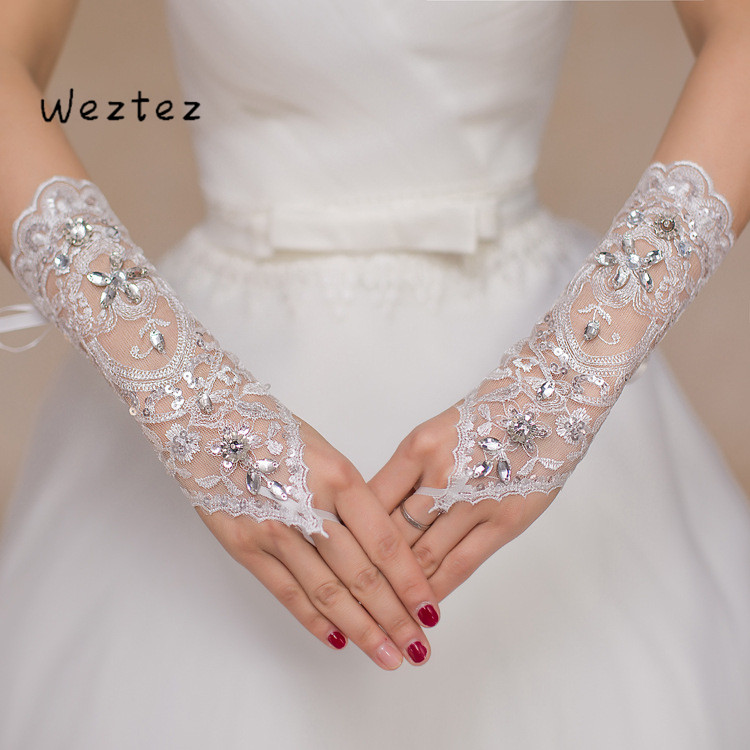 Bridal Gloves Rhinestone Lace Gloves Crystal Sequin Wedding Gloves Wedding Accessories ST015