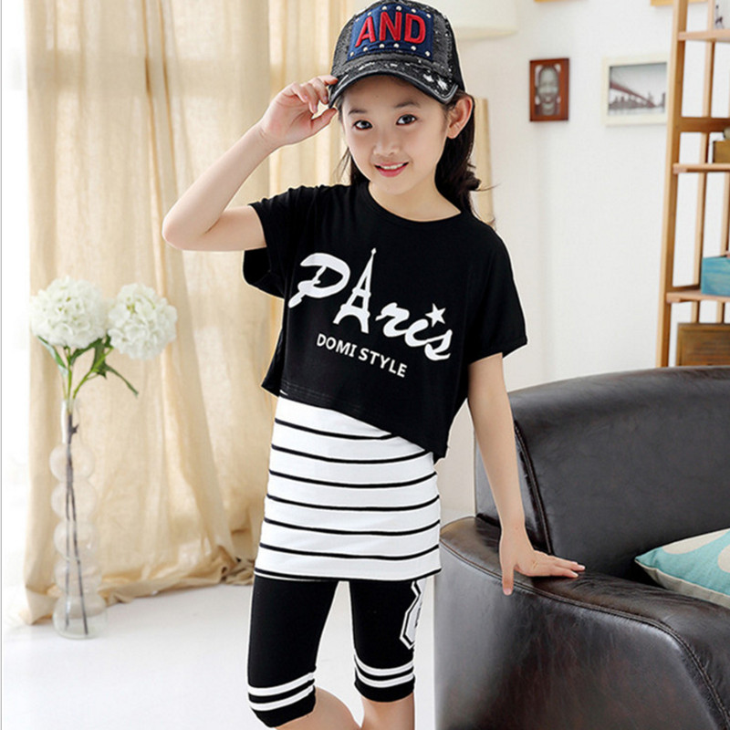 Children's Girls Summer Set 3 Pieces Suits Fashion Letters Printed Striped Cotton Clothing Set Black/White 120-170
