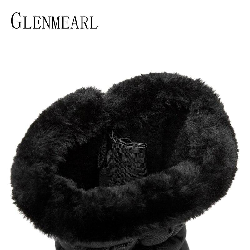 Cremallera Botas Alta Shoes Plarform Zapatos De Impermeable Mujer Mujeres Negro Invierno Con Tamaño Black Las Plus D Nieve qwxH70WE