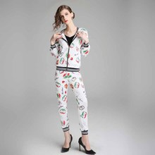 Print Thin 2 Two Piece Set Top And Pants Women Tracksuit 2019 new autumn elegant Female Sportwear Womens Suit